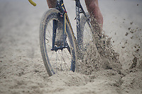 weaving/plowing through the thick beach sand<br /> <br /> U23 race<br /> Belgian National CX Championships 2017