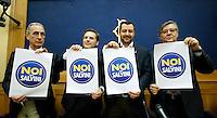 Angelo Attaguile, Armando Siri, Matteo Salvini e Raffaele Volpi mostrano il logo della lista Noi con Salvini <br /> Roma 04-05-2015 Sala Stampa Camera, Conferenza stampa sulle iniziative del movimento Noi con Salvini<br /> Photo Samantha Zucchi Insidefoto