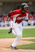 Daryl Thompson #23 of the Carolina Mudcats hustles down the first base line against the Jacksonville Suns at Five County Stadium May 16, 2010, in Zebulon, North Carolina.  Photo by Brian Westerholt /  Seam Images