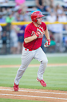 Casey Grayson (38) of the Johnson City Cardinals hustles down the first base line against the Burlington Royals at Burlington Athletic Park on July 14, 2014 in Burlington, North Carolina.  The Cardinals defeated the Royals 9-4.  (Brian Westerholt/Four Seam Images)