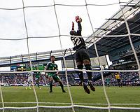KANSAS CITY, KS - JUNE 26: Quillan Roberts #22 makes a save during a game between Guyana and Trinidad