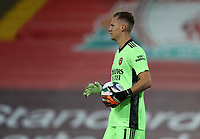 1st October 2020; Anfield, Liverpool, Merseyside, England; English Football League Cup, Carabao Cup, Liverpool versus Arsenal; Arsenal goalkeeper Bernd Leno holds the ball