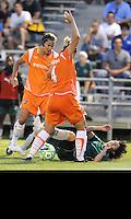 Keeley Dowling ,Jen Buckowski #4 , Sara Walsh on ground..Saint Louis Athletica defeated Sky Blue F.C 1-0, at Anheuser-Busch Soccer Park, Fenton, MO.