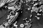 Found broken doll body parts, in slum clearance housing Kilburn north London 1967.