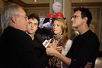 jEAN bEAUDIN, FILM MAKER (l), Maxim GaudettE, ACTOR, Karine Vanasse, actress in Jean Beaudin new movie ''<br /> Sans elle ''  GIVE AN INTERVIEW at the premiere september 18 2006.