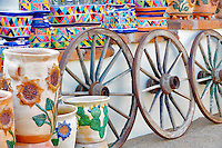Pots and wagon display. Tubac. Arizona