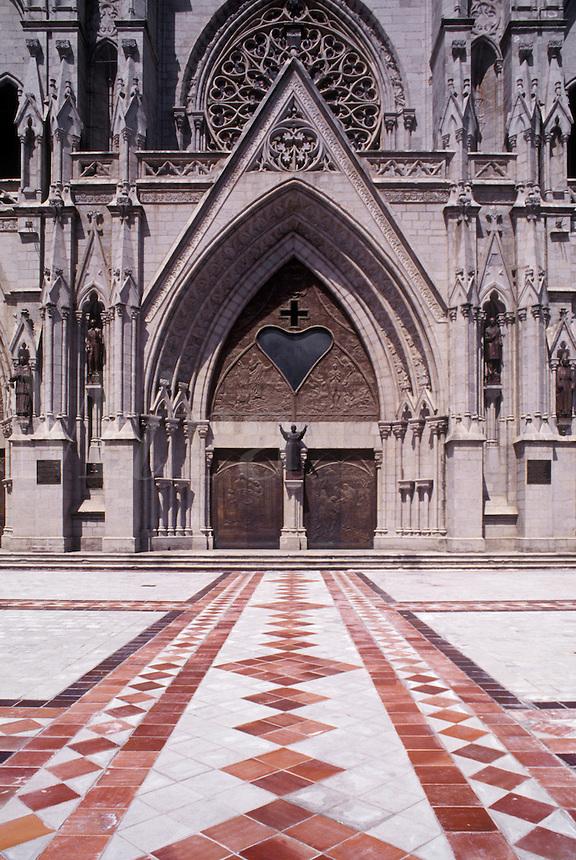 Tiled path to the main door of the cathedral in Quito, Ecuador.