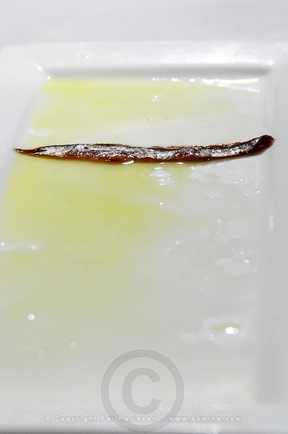 A lonely anchovie Restaurant Cal Blay, Sant Sadurni d'Anoia, Catalonia, Spain.
