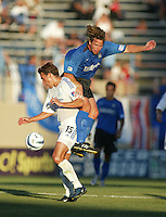 Wizards Forward Josh Wolff and Earthquakes Midfielder Ronnie Ekelund battle for the ball during the first half of the game at San Jose Spartan Stadium in San Jose, California on June 28th, 2003.   Earthquakes and Wizards are tied, 0-0 in overtime.