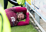 Queen of the South v St Johnstone…18.08.18…  Palmerston    BetFred Cup<br />Drey Wright crashes into the advertising boards<br />Picture by Graeme Hart. <br />Copyright Perthshire Picture Agency<br />Tel: 01738 623350  Mobile: 07990 594431