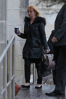 Pictured: Penelope John arriving at Swansea Crown Court. Tuesday 09 January 2018<br /> Re: A mother and son will go on trial at Swansea crown court charged with murdering 84 year old Betty Guy.<br /> Mrs Guy died on November 7, 2011, and her body was cremated soon afterwards.<br /> Her daughter, Penelope John, aged 50, and her grandson, Barry Rogers, 32, have previously denied her murder and an alternative charge of manslaughter.<br /> The court has previously heard that the prosecution case involved 75 hours of recorded statements made by the defendants.