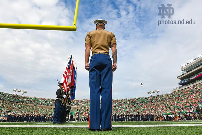 October 2, 2021; ROTC color guard at the football game vs Cincinnati. (photo by Matt Cashore)
