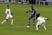 ST PAUL, MN - NOVEMBER 22: Kei Kamara #16 of Minnesota United FC controls the ball during a game between Colorado Rapids and Minnesota United FC at Allianz Field on November 22, 2020 in St Paul, Minnesota.