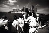 Viewing lower Manhattan from Staten Island Ferry<br />