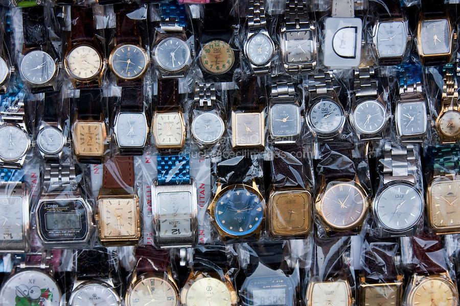 Kathmandu, Nepal.  Wrist Watches for Sale in Sidewalk Market, Downtown Kathmandu.