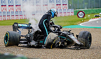 18th April 2021; Autodromo Enzo and Dino Ferrari, Imola, Italy; F1 Grand Prix of Emilia Romagna, Race Day;   Valtteri Bottas FIN 77 , Mercedes AMG Petronas Formula One Team after his accident with Russell and shows he is disappointed