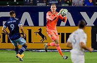 CARSON, CA - OCTOBER 18: Jonathan Klinsmann #33 GK of Los Angeles Galaxy makes a save during a game between Vancouver Whitecaps and Los Angeles Galaxy at Dignity Heath Sports Park on October 18, 2020 in Carson, California.