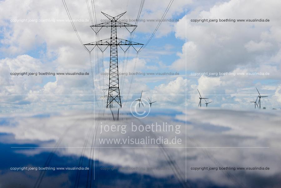 GERMANY Schleswig-Holstein, wind turbines and grid  / DEUTSCHLAND Schleswig Holstein, Windkraftanlage und Stromnetze