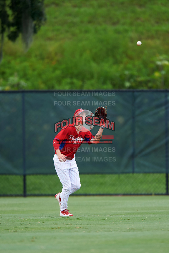 GCL Phillies center fielder Mickey Moniak (15) catches a fly ball during a game against the GCL Braves on August 3, 2016 at the Carpenter Complex in Clearwater, Florida.  GCL Phillies defeated the GCL Braves 4-3 in a six inning rain shortened game.  (Mike Janes/Four Seam Images)