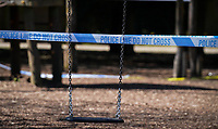 Police tape of the play area and swings during the Covid-19 Pandemic in which the Government have given strict rules on only leaving the home for essential work, food shopping and one form of exercise per day.<br /> The Rye Park in High Wycombe, Bucks on 5 April 2020. Photo by Andy Rowland.