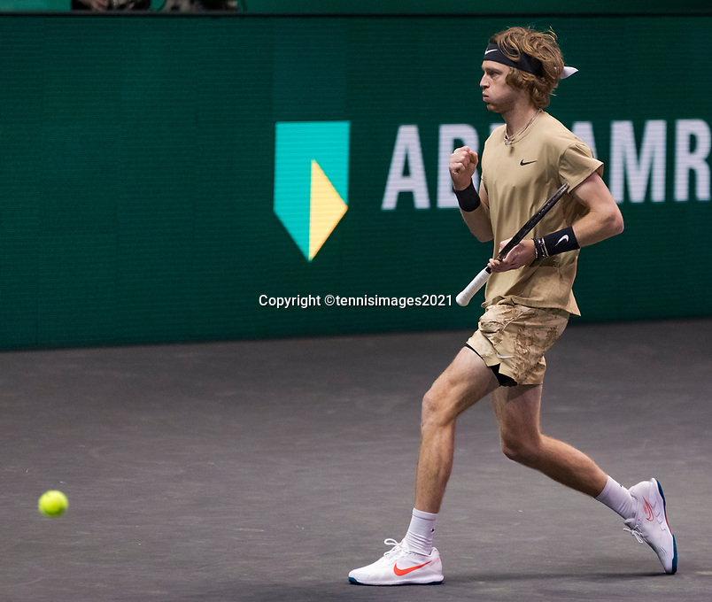 Rotterdam, The Netherlands,7 march  2021, ABNAMRO World Tennis Tournament, Ahoy,  <br /> Finals: Andrey Rublev (RUS) vs. Marton Fucsovics (HUN). Photo: www.tennisimages.com/henkkoster