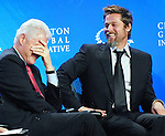 Former President Bill Clinton and Brad Pitt at Clinton Global Initiative 2009 in New York City.