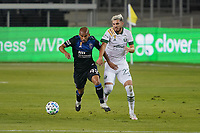 SAN JOSE, CA - SEPTEMBER 19: Judson #93 of the San Jose Earthquakes battles for the ball with Cristhian Paredes #22 of the Portland Timbers during a game between Portland Timbers and San Jose Earthquakes at Earthquakes Stadium on September 19, 2020 in San Jose, California.