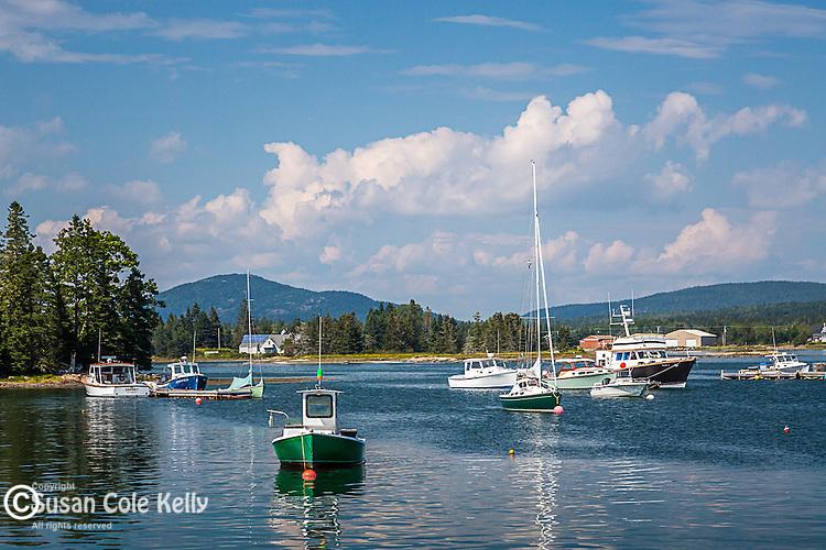 Harbor scene in Bernard, Maine, USA