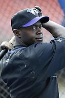 Quinton McCracken of the Arizona Diamondbacks before a 2002 MLB season game against the Los Angeles Dodgers at Dodger Stadium, in Los Angeles, California. (Larry Goren/Four Seam Images)