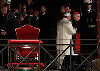 Papa Francesco al termine della Via Crucis al Colosseo, Roma, 18 aprile 2014.<br /> Pope Francis leaves after celebrating the Via Crucis (Way of the Cross) torchlight procession at the Colosseum, Rome, 18 April 2014.<br /> UPDATE IMAGES PRESS/Isabella Bonotto<br /> <br /> STRICTLY ONLY FOR EDITORIAL USE