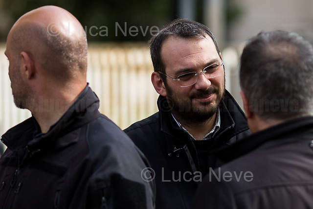 """Paolo Borrometi (Journalist under police protection - please read his story in the caption).<br /> <br /> Rome, 17/04/2018. Today, journalists and their representatives, organizations, and members of the public gathered outside the Rome's Courts of Justice in Piazzale Clodio to protest against the proposal of the preliminary investigations Judge to close and archive the investigations and the proceedings into the murder of the RAI TG3 (State broadcaster Rai's third channel) journalist Ilaria Alpi and her camera operator Miran Hrovatin, killed in circumstances still to be clarified on 20 March 1994 in Mogadishu, Somalia. The demonstration called """"Noi non archiviamo il caso di Ilaria Alpi e Miran Hrovatin"""" (We [don't close and] archive the case of Ilaria Alpi & Miran Hrovatin) was supported by Libera, LiberaInformazione, FNSI (Federazione Nazionale della Stampa Italiana - Italian Trade Union Of Journalists), Usigrai, TG3, Cnogm, Articolo21, Rete NoBavaglio, Amnesty International Italy. The demonstration was attended, amongst others, by: Luciana Alpi (Mother of Ilaria Alpi), Hashi Omar Hassan (The innocent man who was wrongfully sentenced and spent 17 years in prison for complicity in the murder of Italian journalist Ilaria Alpi), Paolo Borrometi (Sicilian journalist who has to live under police escort/protection because a Catania mafia clan planned to kill him due to his journalistic work and investigations about mafia and corruption – for more info please click here: https://bit.ly/2HckBvn).<br /> <br /> For more info about Alpi-Hrovatin case please click here: http://www.ilariaalpi.it/ & https://bit.ly/2Hu0Y5o (In this article you can also find news about Hashi Omar Hassan) & https://bit.ly/2HN2z4c (Ilaria Alpi, Wikipedia) & https://bit.ly/2qGeeui (Miran Hrovatin, Wikipedia) & https://bit.ly/2Hg1yk4 (The Herald, Scotland) & https://bit.ly/2HbSSeg (ANSA – 17.04.18)<br /> <br /> For a video of the event by Radio Radicale please click here: https://t.co/Buu53Zxwkf"""