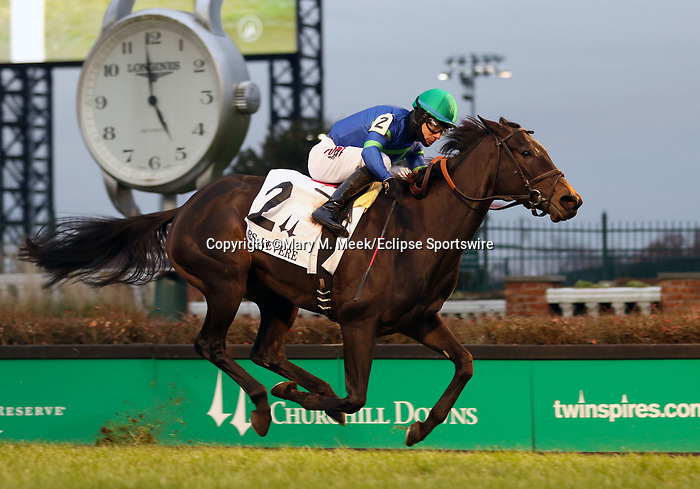 November 29, 2019 : Nay Lady Nay (#2, Junior Alvarado, jockey) wins the 29th running of the G2 Mrs Revere at Churchill Downs, Louisville, Kentucky. Trainer Chad C. Brown, owner First Row Partners (Steve Laymon) and Hidden Brook Farm (James Hall). By No Nay Never x Lady Ederle (English Channel). Mary M. Meek/ESW/CSM