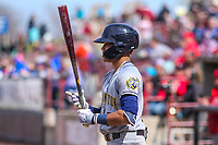 Burlington Bees outfielder Jordyn Adams (2) steps to the plate during a Midwest League game against the Wisconsin Timber Rattlers on April 28, 2019 at Fox Cities Stadium in Appleton, Wisconsin. Wisconsin defeated Burlington 5-4. (Brad Krause/Four Seam Images)