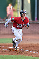 Elizabethton Twins catcher Ben Rortvedt (33) runs to first base during a game against the Bristol Pirates at Joe O'Brien Field on July 30, 2016 in Elizabethton, Tennessee. The Twins defeated the Pirates 6-3. (Tony Farlow/Four Seam Images)