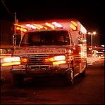 Ambulance with emergency lights on