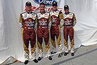 (L to R):  Mark Wilkins, Burt Frisselle, John Pew and Ozz Negri, #60 Michael Shank Racing Ford/Riley