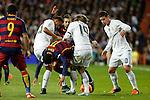 Real Madrid´s Danilo, James and Luka Modric and Barcelona´s Neymar Jr (C) during 2015-16 La Liga match between Real Madrid and Barcelona at Santiago Bernabeu stadium in Madrid, Spain. November 21, 2015. (ALTERPHOTOS/Victor Blanco)