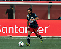 FOXBOROUGH, MA - SEPTEMBER 23: Lee Nguyen #42 of New England Revolution looks to pass during a game between Montreal Impact and New England Revolution at Gillette Stadium on September 23, 2020 in Foxborough, Massachusetts.