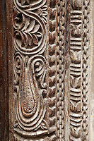 Zanzibar, Tanzania.  Carved Door Frame in Stone Town.