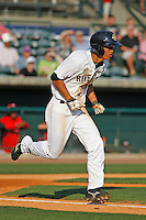 Charleston RiverDogs infielder Gosuke Katoh (16) on the mound during a game against the Hickory Crawdads at Joseph P. Riley Jr. Ballpark on May 2, 2015 in Charleston, South Carolina. Hickory defeated Charleston  4-1. (Robert Gurganus/Four Seam Images)