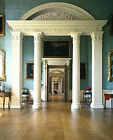 Kedleston Hall, Derbyshire, England, 1759 - 1765. The State Boudoir. Screen of columns dividing the room.