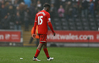 Daniel Sturridge of Liverpool walks off dejected at full time without acknowledging the supporters during the Barclays Premier League match between Swansea City and Liverpool played at the Liberty Stadium, Swansea on 1st May 2016