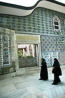 Devout ladies in hijab at the Eyup Mosque, Istanbul, Turkey