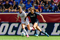 HARRISON, NJ - SEPTEMBER 29: Paige Monaghan #4 of Sky Blue FC is marked by Carson Pickett #16 of the Orlando Pride during a game between Orlando Pride and Sky Blue FC at Red Bull Arena on September 29, 2019 in Harrison, New Jersey.