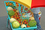 Vendor's cart with watermelon, papaya, honey dew melon, pineapple, cucumber and lemons (ingredients used to prepare fruit and vegetable cup) - Mexico City, Mexico state, Mexico