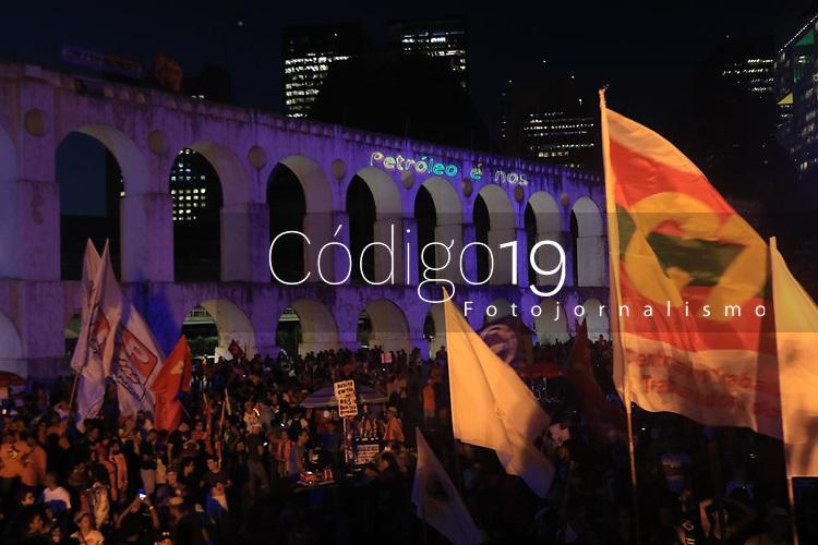 RJ. RIO DE JANEIRO <br /> 18.02.20 PROTESTO Petroleiros em greve fazem ato na Lapa, centro do Rio. ( Foto Ellan Lustosa / Codigo19) (Foto: Ellan Lustosa/Codigo 19/Codigo 19)