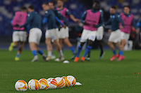 Molten Europa League official balls are seen on the pitch prior to the Europa League round of 32, 2nd leg football match between SSC Napoli and Granada CF at Diego Armando Maradona stadium in Napoli (Italy), February 25, 2021.<br /> Photo Cesare Purini / Insidefoto