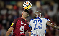 Orlando, FL - Friday Oct. 06, 2017: Bobby Wood, Felipe Baloy during a 2018 FIFA World Cup Qualifier between the men's national teams of the United States (USA) and Panama (PAN) at Orlando City Stadium.