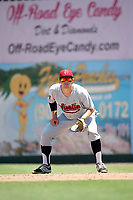 Austin Byler (20) of the Visalia Rawhide in the field at first base during a game against the Inland Empire 66ers at San Manuel Stadium on June 5, 2017 in San Bernardino, California. Visalia defeated Inland Empire, 9-1. (Larry Goren/Four Seam Images)