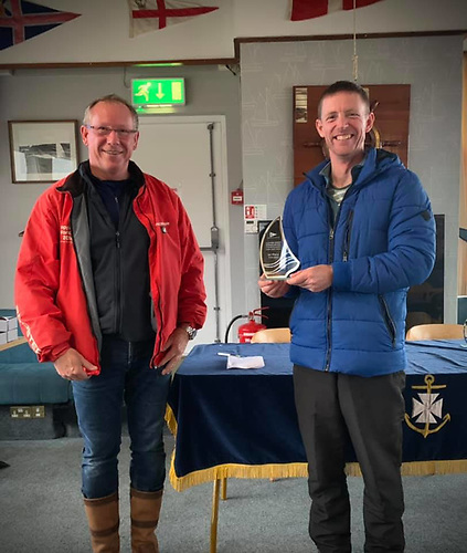 Barry Murphy, First Silver fleet Ulster Windsurfing Championships with BYC Commodore Aidan Pounder Photo: Catherine Gunning